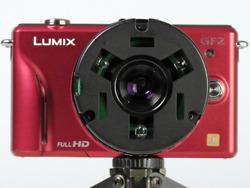 LUMIX DMC-GF2に装着した「NANOHA」(なのは)の試作品